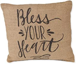 Bless Your Heart Calligraphy Print 8 x 8 inch Burlap Decorative Throw Pillow