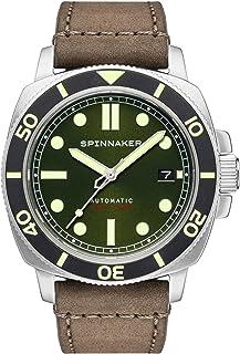 Spinnaker - Hull Diver SP-5088-03 - Reloj automático de 3 manos con esfera verde oscuro y correa de cuero genuino marrón oscuro