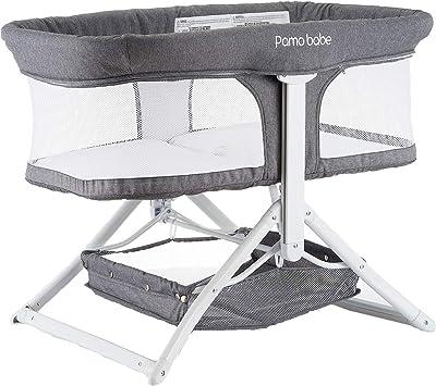 2in1 Bassinet Quick Foldable Travel Crib Portable Rocking Bassinet (Gray)