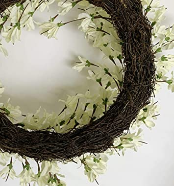 Huashen Spring Front Door Wreath, White Cream Forsythia Blossom Cluster Flower Farmhouse Wreath on Grapevine for Wall Window