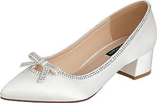 ERIJUNOR Women Comfort Pumps Chunky Block Low Heels Closed Toe Rhinestones Satin Wedding Bridal Shoes