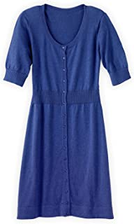 Fair Trade Cotton/Alpaca Button Front Sweater Dress