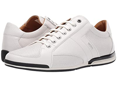 BOSS Hugo Boss Saturn Low Profile Leather Sneaker by BOSS (White) Men