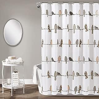 "Lush Decor Rowley Shower Curtain-Floral Animal Bird Print Design for Bathroom, x 72"", Blush and Gray"