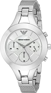 Emporio Armani Women's White Dial Stainless Steel Band Watch - Ar7389, Analog Display