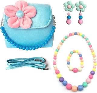 Elesa Miracle Little Girl Bag Beauty Set Plush Handbag + Flower-Shaped Clip-on Earrings + Necklace and Bracelet Set (Blue)