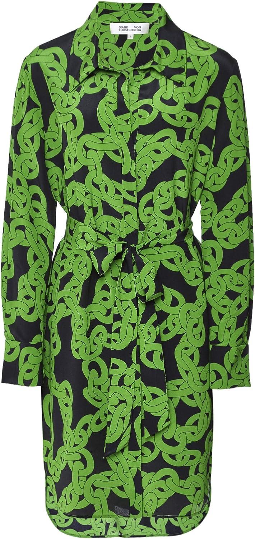 Diane Von Furstenberg Women's Silk Crawling Chain Shirt Dress Green