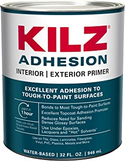 KILZ Adhesion High-Bonding Interior/Exterior Latex Primer/Sealer, White, 1 quart..