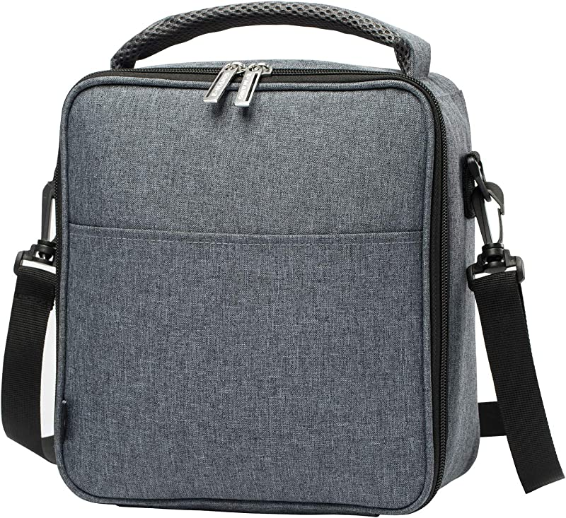 E Manis Insulated Lunch Bag Lunch Box Cooler Bag With Shoulder Strap For Men Women Kids Gray