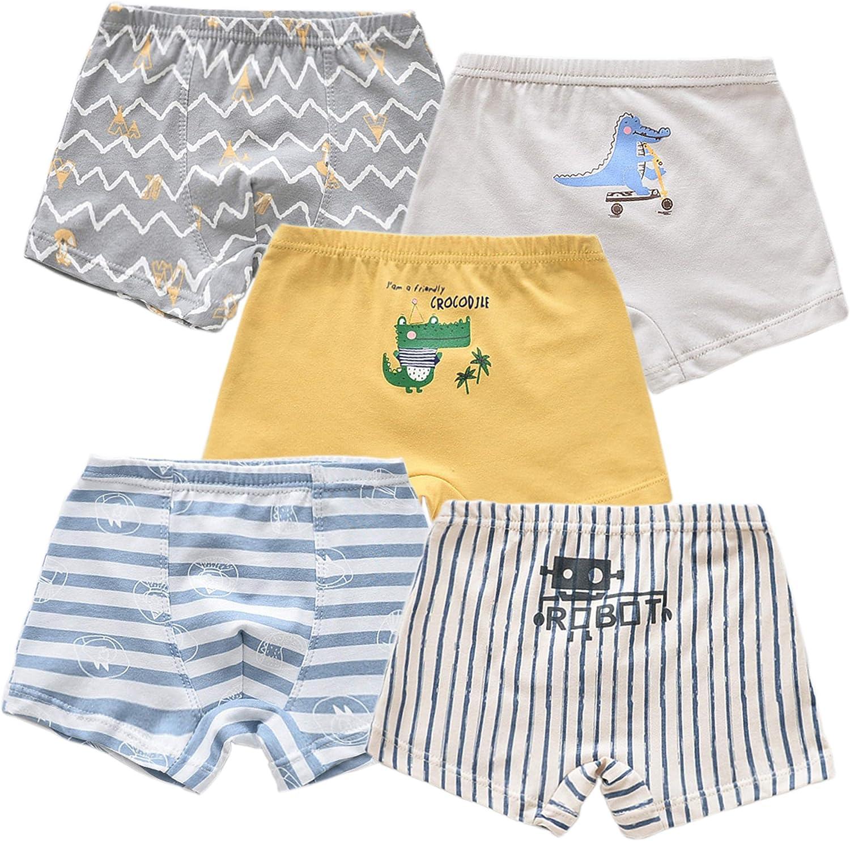 ANGUYA Kids Baby Soft Cotton Underwear Boys' Boxer Briefs Toddler Undies Boyshort Panties (Pack of 5)