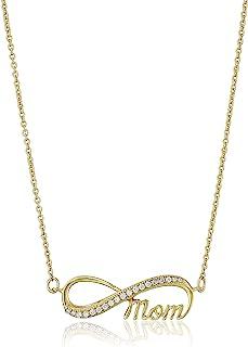 Amazon CollectionChapado en Plata de ley circonitas cúbicas collar con colgante infinity Mom, 45,7cm