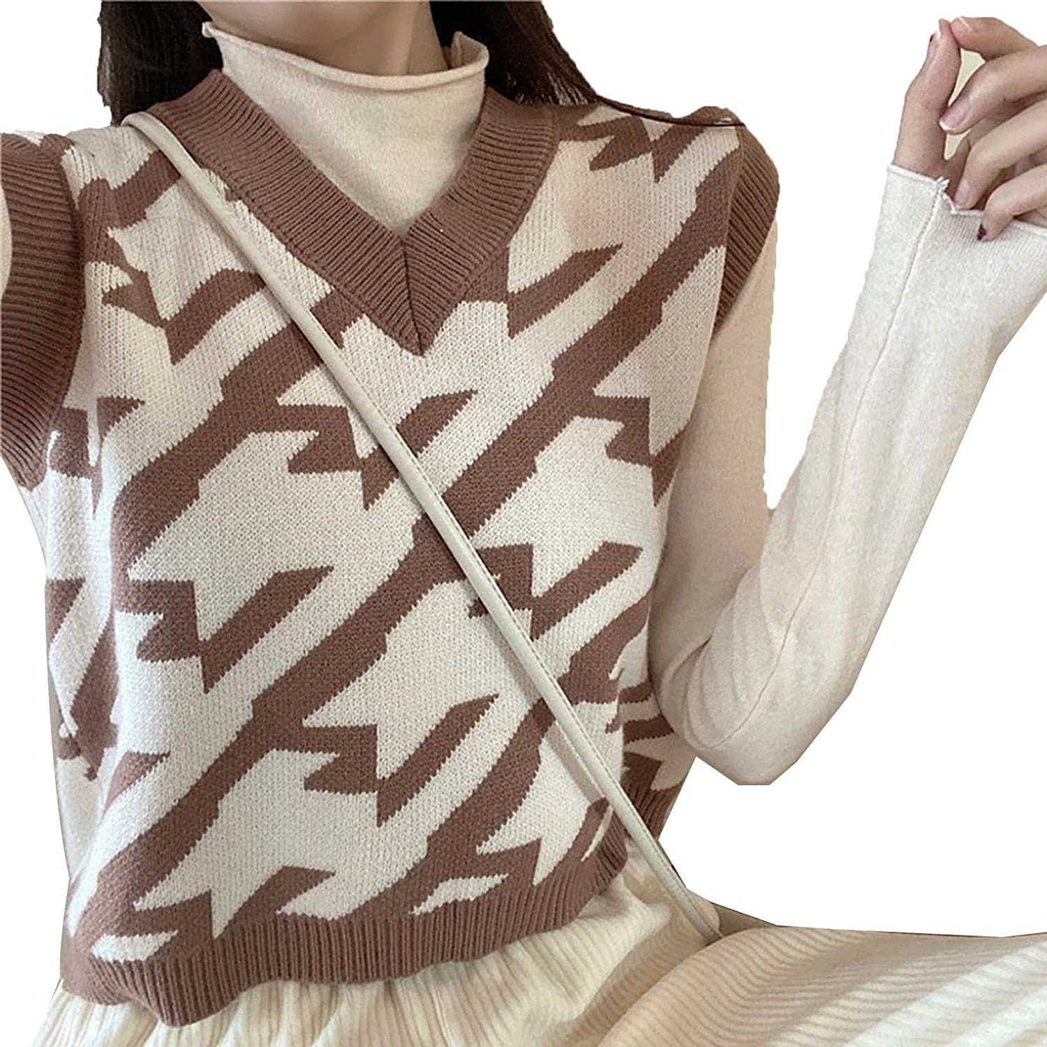 Everybody Let's Rock V Neck Houndstooth Knitted Vest Women Casual Korean Spring Autumn Sleeveless Sweater Waistcoats