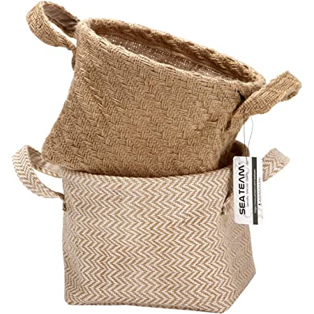 Sea Team Storage Paniers Organizer Box Bins in Jute and Cotton Linen Pliable with Handle Decorative for Home Toiletry Stationery Sundries Toys Jewerly Color Beige 14 * 17 * 16CM 2PCS