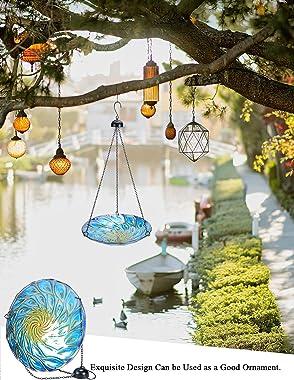 MUMTOP 11-inch Hanging Bird Bath Glass Bird Bath Outdoor Bird Feeder for Garden Decoration