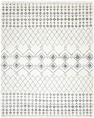 Solo Rugs Vinay Bohemian Moroccan Hand-Knotted Indoor Area Rug, 5' x 8', Ivory