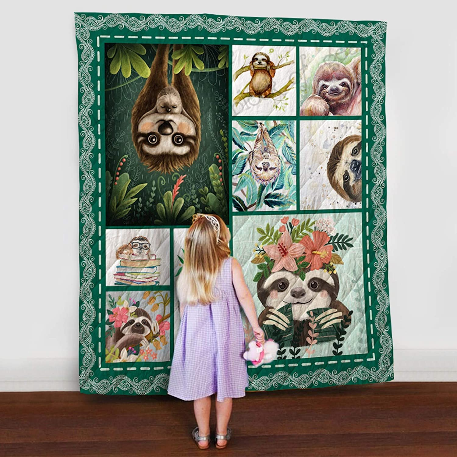 Sloth Quilt TH565, Queen All-Season Quilts Comforters with Reversible Cotton King Queen Twin Size - Best Decorative Quilts-Unique Quilted for Gifts