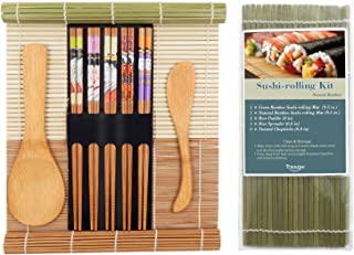 TOSSOW Sushi Making Kit - Includes 2 Sushi Rolling Mats, 1 Rice Paddle,1 Rice Spreader and 5 Pairs Chopsticks |100% Bamboo Sushi Mats and Utensils