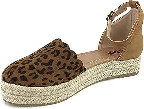 AMS Women's Platform Espadrilles Ankle Wrap Closed Toe D'Orsay Sandals
