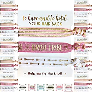 10 x 3-Pack Hair Ties - Bride Tribe - Bachelorette and Wedding Shower Party Favors for Bridesmaids - 30 Hair Ties in Total! (Blush & Gold (Tribe))