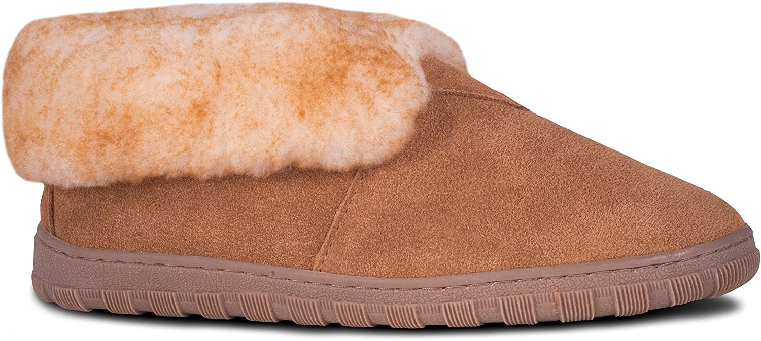 RJ's Fuzzies Mens Sheepskin Leather Lined Bootie Slippers