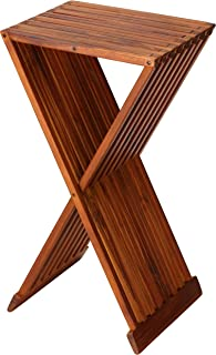 Bare Decor Taj Folding Plant Stand Pedestal Table in Solid Teak Wood, 28