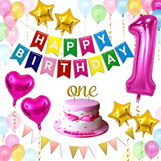 1st Birthday Girl Decoration | 35pcs Girl 1st Birthday Decoration | Rainbow Happy Birthday Banner, 40 Inch 1 Mylar Balloon, Glittery ONE Cake Topper, Colorful Balloons | LeTime (Rose Red)