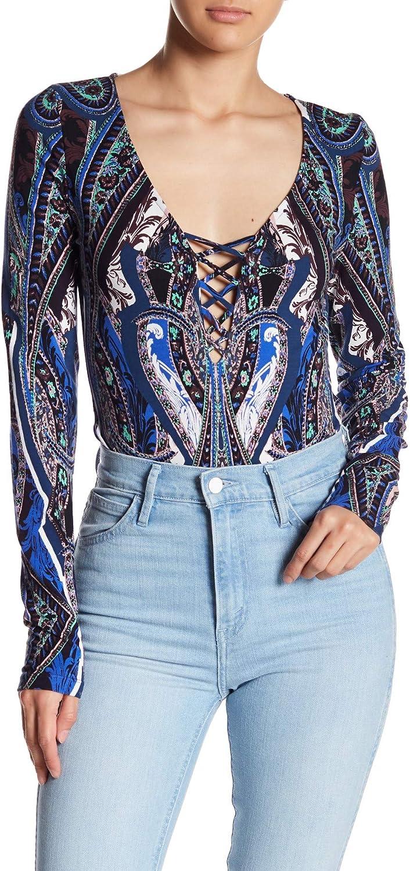 Free People Intimately, Women's Pick A Place Bodysuit, Blue Combo, Size L