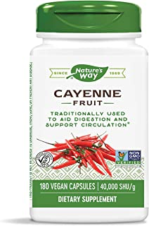 Nature's Way Cayenne Pepper 40,000 SHU Potency, Non-GMO & Gluten Free, Vegetarian Capsules, 180 Count