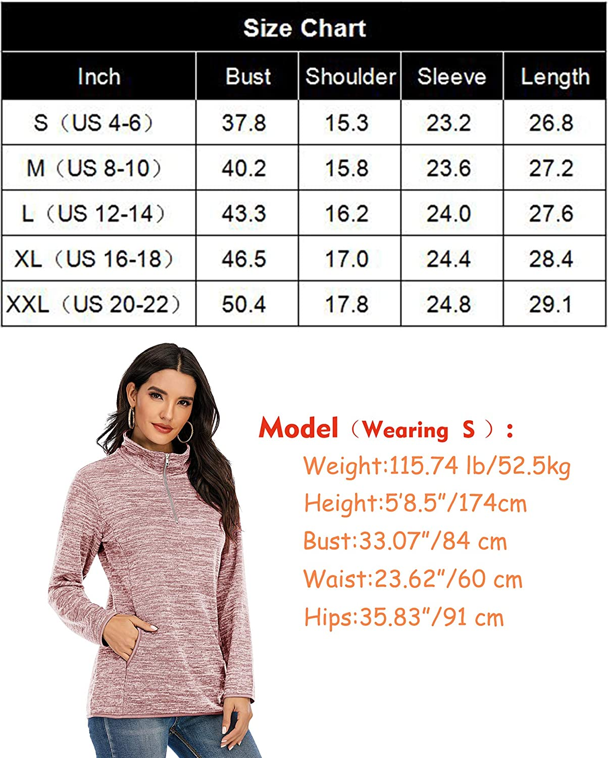 YQ.Cool Go Sweatshirts for Women 1//4 Zip Pullover Soft Comfy Lightweight Long Sleeve Shirts Tops with Pockets S-XXL