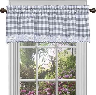 Achim Home Furnishings, Grey & White Buffalo Check Window Curtain Valance, 58