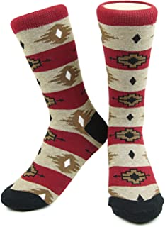 Santa Fe Pattern Socks - El Paso Tan/Burgundy - Dapper, Trendy Designer Socks