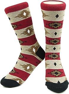 Santa Fe Pattern Socks - El Paso Tan/Burgundy - Dapper, Trendy Designer Socks