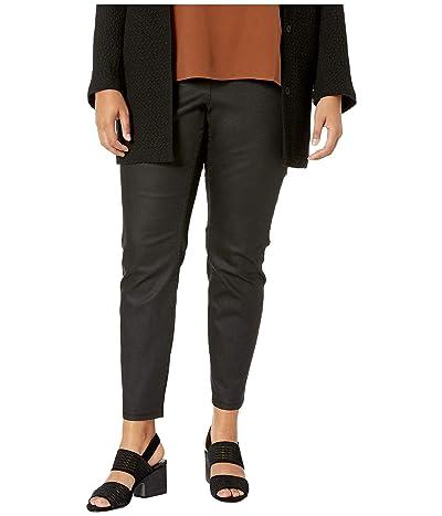 Eileen Fisher Plus Size Coated Organic Cotton Stretchy Denim Leggings in Black (Black) Women
