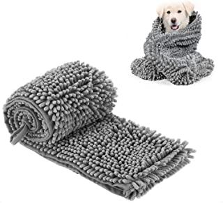 HI NINGER Pet Towel, Dog Towel with Triangle Hand Pockets, Soft Super Absorbent and Quick Drying Chenille Fabric Machine Washable for Dog Cat Bath Towel …