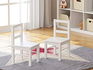 UTEX Child's Wooden Chair Pair for Play or Activity, Set of 2, White