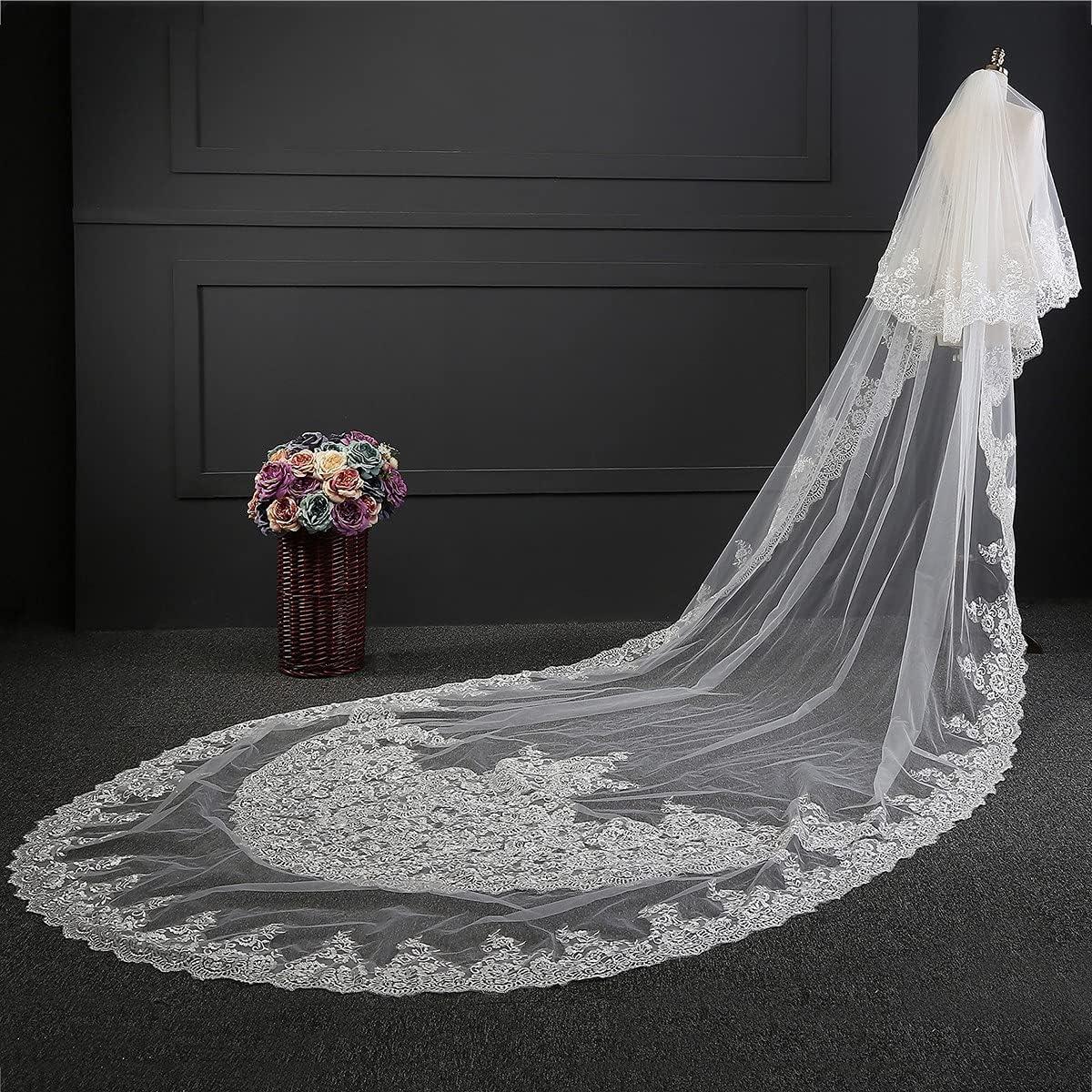 JZJZ Women's Bridal Wedding Veil 2 Tier Tail Cathedral Big Max 67% OFF Dedication