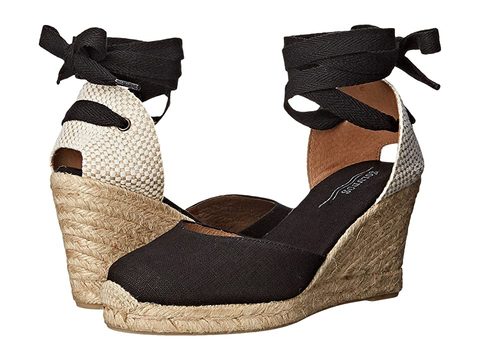 Vintage Sandal History: Retro 1920s to 1970s Sandals Soludos - Tall Wedge Linen Black Womens Wedge Shoes $94.90 AT vintagedancer.com