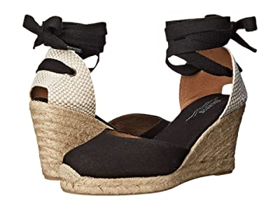 Soludos Tall Wedge Linen (Black) Women