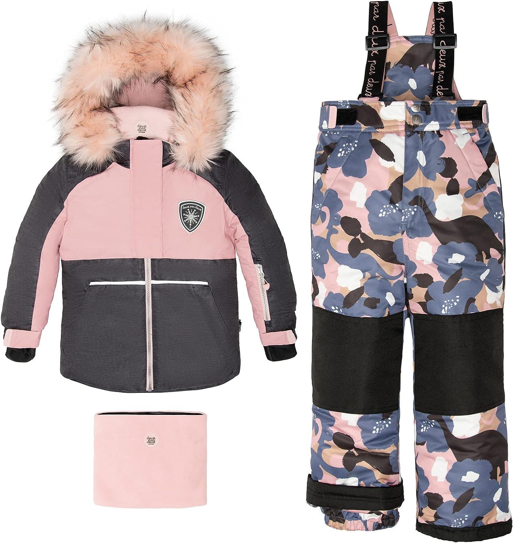 Deux par Deux Two-Piece Snowsuits Girl Kids Camouflage Flowers Pink, Blue, Dark Grey Texture Dinosaurs camo Print 7 Years