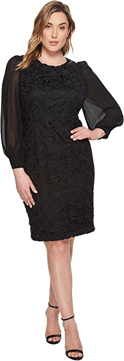 Adrianna Papell - Plus Size Bishop Sleeve Ava Lace Sheath Dress