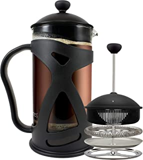 KONA French Press Coffee Maker With Reusable Stainless Steel Filter, Large Comfortable..