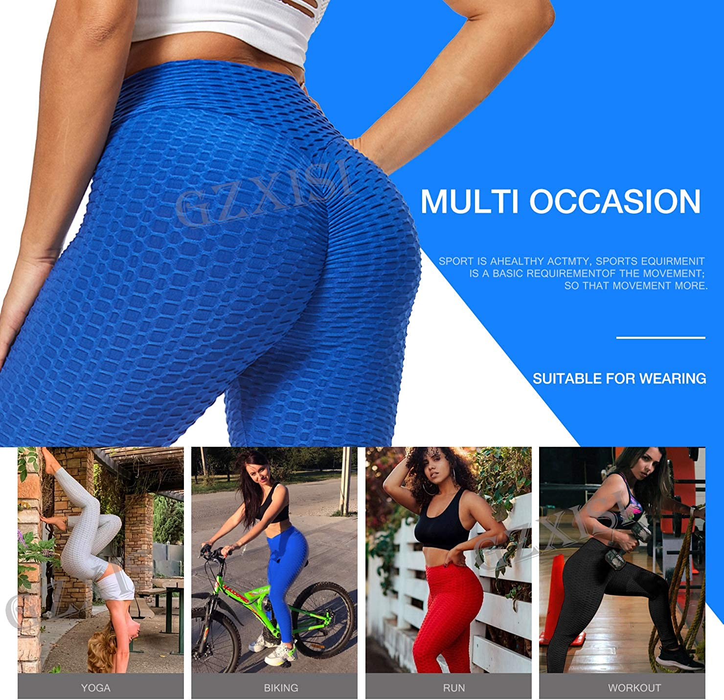 GZXISI Womens Ruched Butt Lifting High Waist Yoga Pants Tummy Control Workout Leggings Textured Booty Scrunch Tights