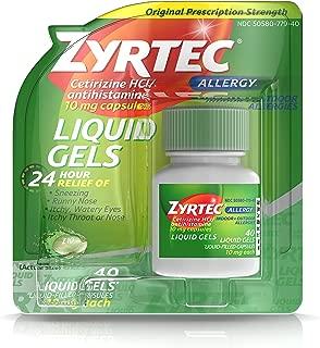 Zyrtec 24 Hour Indoor & Outdoor Allergy Liquid Gels, Antihistamine Capsules with Cetirizine Hydrochloride for All-Day Allergy Relief, 40 ct