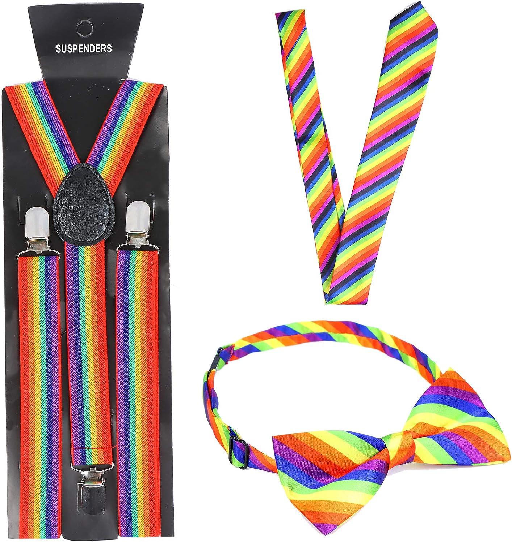 3 Pcs Rainbow Bow Tie Tie and Braces-Elasticated Y Shape Suspenders-Fancy Dress Rainbow Braces Gay Pride Accessory
