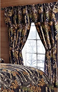 Regal Comfort The Woods Black Camouflage 5pc Curtain Set for Hunters Cabin or Rustic Lodge Teens Boys and Girls (Curtain, Black)