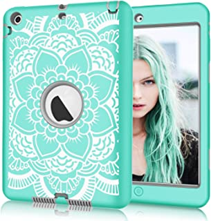 Hocase iPad mini/2/3 Case, Shockproof Hybrid Dual Layer Hard Rubber Protective Case with Cute Flower Design for Apple iPad Mini 1st/2nd/3rd gen 7.9-inch - Teal/Grey