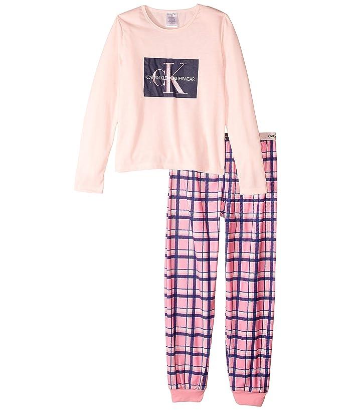 Piece Set w/ Brushed Micro (Little Kids/Big Kids) (CK Lilac/CK Navy Outline) Girl's Pajama Sets