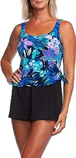 Women's Scoop Neck Faux Tankini Swim Dress One Piece Swimsuit
