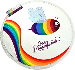 Super Colorful Bee Magnificent Large Round Microfiber Beach & Bath Towel with Tassels. Super absorbent, Quick Drying. Rainbow Gay Pride Bee. 59 Inches Diameter. Outdoor Rug, Picnic Blanket & Yoga Mat.