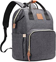 HaloVa Diaper Bag Multi-Functional Portable Travel Backpack Nappy Bags for Baby Care, Water-resistant, Large Capacity, Stylish and Durable, Leather Tag Black Gray